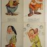 Umělecké, umění - Film, Sněhurka a sedm trpaslíků, 8 ks reklamních pohlednic