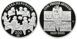 Vyšla 200 korunová pamětní mince - 600. výročí výročí vydání čtyř pražských artikulů