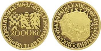 2000 Kč 2002 - Pozdní Gotika - Kašna v Kutné Hoře, etue, certifikát, PROOF