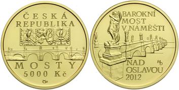 5000 Kč 2012 - Barokní most v Náměšti nad Oslavou, běžná kvalita