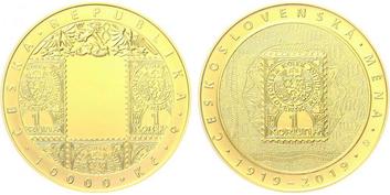 10000 Kč 2019 - 100. výročí zavedení československé měny, běžná kvalita