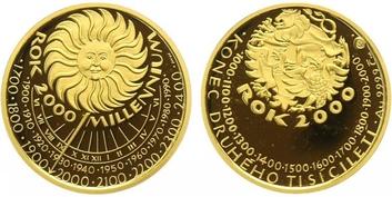 Medaile (2000) - Milenium 2000, Au 0,9999, průměr 23 mm, (7,78 g), kapsle, etue, cert