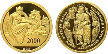 AR Medaile 2000 - Svatováclavský dukát, Au 0,986, 20 mm (3,5 g), etue, PROOF