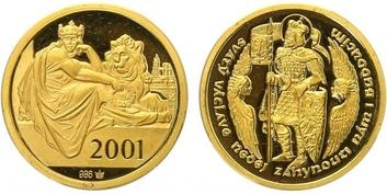 AR Medaile 2001 - Svatováclavský dukát, Au 0,986, 20 mm (3,5 g), etue, PROOF