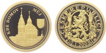 AR Medaile 2002 - Kde domov můj, Au 0,986, 20 mm (3,5 g), etue, certifikát, PROOF