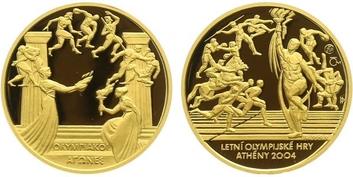 Medaile 2004 - Letní olympijské hry Athény, Au 0,9999, 22mm (7,78 g),  PROOF