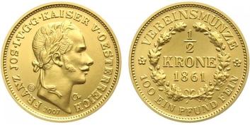 Medaile 2007 - Spolková půlkoruna 1861, Au 0,986 (3,49 g), kapsle, etue, certifikát,