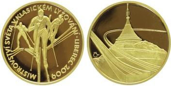 Medaile 2009 - MS v lyžování - Liberec, Au 0,9999, 28 mm (15,56 g), 1/2 Oz, etue a ce