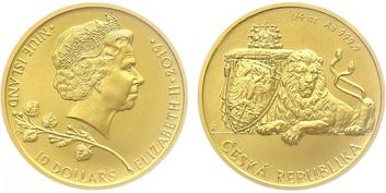 Medaile b.l. - Ručně ražená replika florénu Jana Lucemburského, certifikát, Au 0,9999