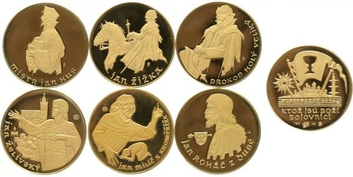 Sada 6 kusů medailí b.l. se společným reversem - Doby husitské, Au, 0,750, 22 mm (6 x