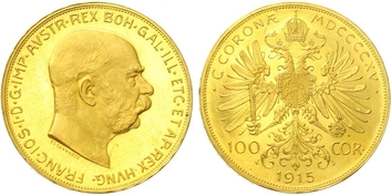 Rakousko - Uhersko, 100 Koruna 1915 - novoražba, Au 0,900 (33,875 g)