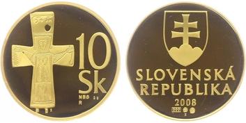Medaile 2008 - Začátek ražby Euroměny na Slovensku, Au 0,986, 26 mm (10,0 g), číslo 1