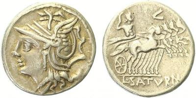 L. Appuleius Saturnius - Denár,  Hlava Romy vlevo / Victoria na Bize vlevo, C COIL CALD, Alb.1122