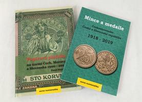 Papírová platidla na území Čech, Moravy a Slovenska 1900 - 2019, VÁZANÉ + Mince a medaile, Československo, ČR a SR 1918 - 2019