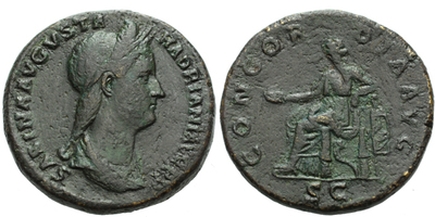 Sabina (manželka Hadriana) - Sestercius, RIC 1017
