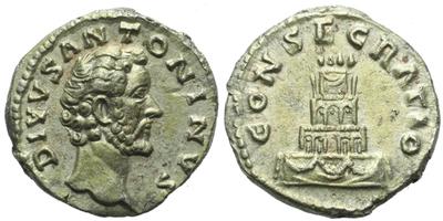 Antoninus Pius - Denár (posmrtní ražba za Marca Aurelia), RIC.438