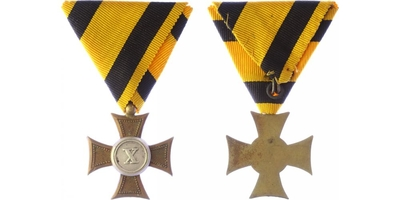 Vojenský služební odznak pro poddůstojníky a mužstvo, kříž II. třídy za 10 let služby