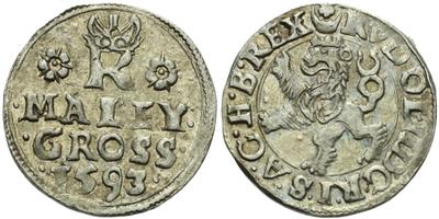 Malý groš 1593, Jáchymov-Hoffmann, HN.8b