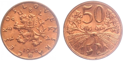 50 haléř 1948, stav 0/0