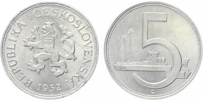 5 koruna 1952 - nevydaná