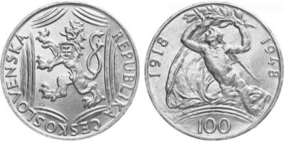 100 koruna 1948 - 30. výročí vzniku Československé republiky