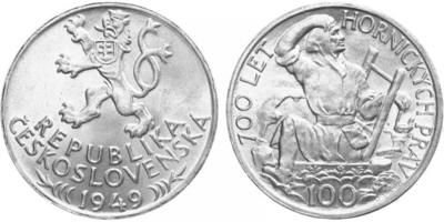 100 koruna 1949 - 700. výročí vydání jihlavského horního práva