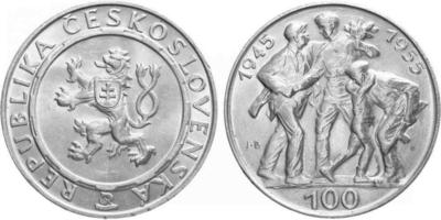 100 Koruna 1955 - 10. výročí osvobození Československa, var. B