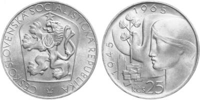 25 Koruna 1965 - 20. výročí osvobození Československa