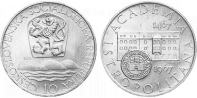10 Koruna 1967 - Akademia Istropolitana