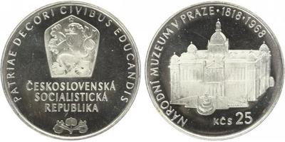 25 Koruna 1968 - Národní muzeum v Praze, PROOF - nepůvodní etue