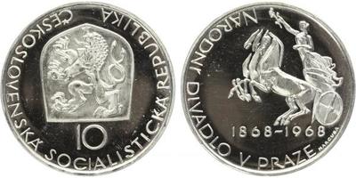 10 Koruna 1968 - Národní divadlo v Praze, PROOF - nepůvodní etue