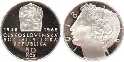 50 Koruna 1968 - 50. výročí Československé republiky, PROOF, nepůvodní etue