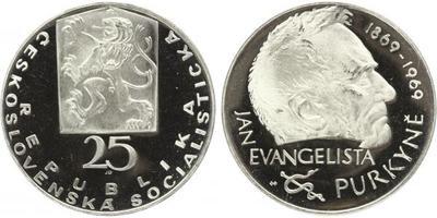 25 Koruna 1969 - Jan Evangelista Purkyně, PROOF - nepůvodní etue