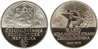50 Koruna 1979 - IX. sjezd KSČ, PROOF, původní etue s ulomenou plombou