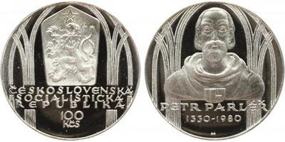 100 Koruna 1980 - Petr Parléř, PROOF, nepůvodní etue