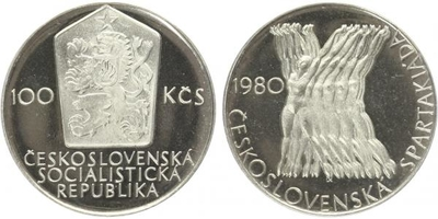 100 Koruna 1980 - Československá spartakiáda, PROOF