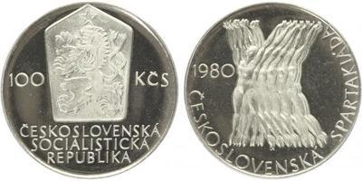 100 Koruna 1980 - Československá spartakiáda, PROOF, původní etue s ulomenou plombou