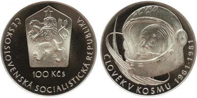 100 Koruna 1981 - Člověk v kosmu, PROOF, původní etue s ulomenou plombou