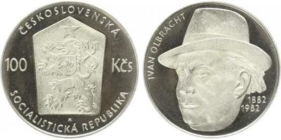 100 Koruna 1982 - Ivan Olbracht, PROOF - nepůvodní etue
