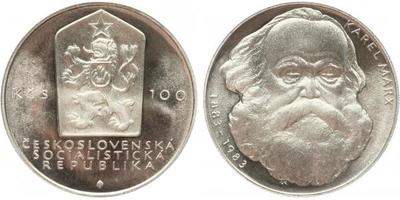 100 Koruna 1983 - Karel Marx, PROOF - původní etue bez plomby