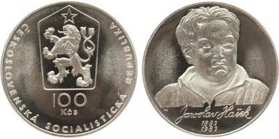 100 Koruna 1983 - Jaroslav Hašek, PROOF, nepůvodní etue