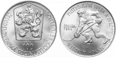 100 Koruna 1985 - Mistrovství světa v ledním hokeji