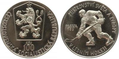 100 Koruna 1985 - Mistrovství světa v ledním hokeji, PROOF