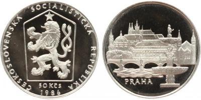 50 Korunna 1986 - Městká památková rezervace Praha, PROOF, původní etue s ulomenou plombou