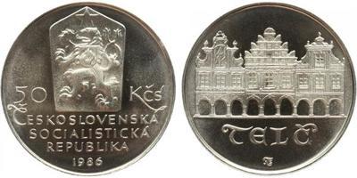 50 Koruna 1986 - Městká památková rezervace Telč, PROOF