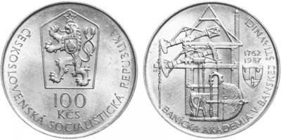 100 Koruna 1987 - Banícka Akadémia v Banské Štiavnici