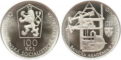 100 Koruna 1987 - Bánska Akadémie v Banské Štiavnici, PROOF