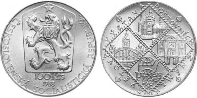 100 Koruna 1988 - Světová výstava poštových známek Praga 88