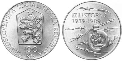 100 Koruna 1989 - 17. listopad 1939
