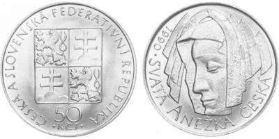 50 Koruna 1990 var. - Svatá Anežka Česká, bez signatury autota